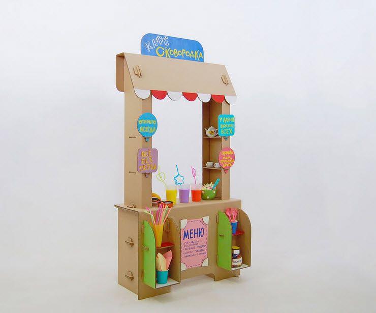 Как сделать детский прилавок из картона